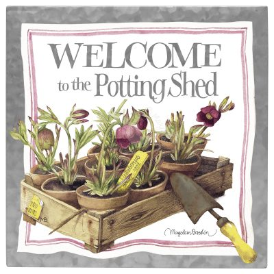 Welcome to the Potting Shed 10 x 10 Metal Box Art