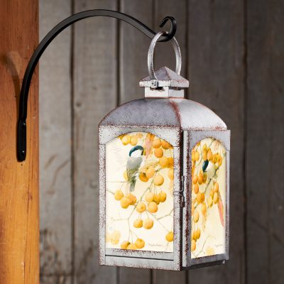 Chickadee & Crabapple - Galvanized Gray Lantern