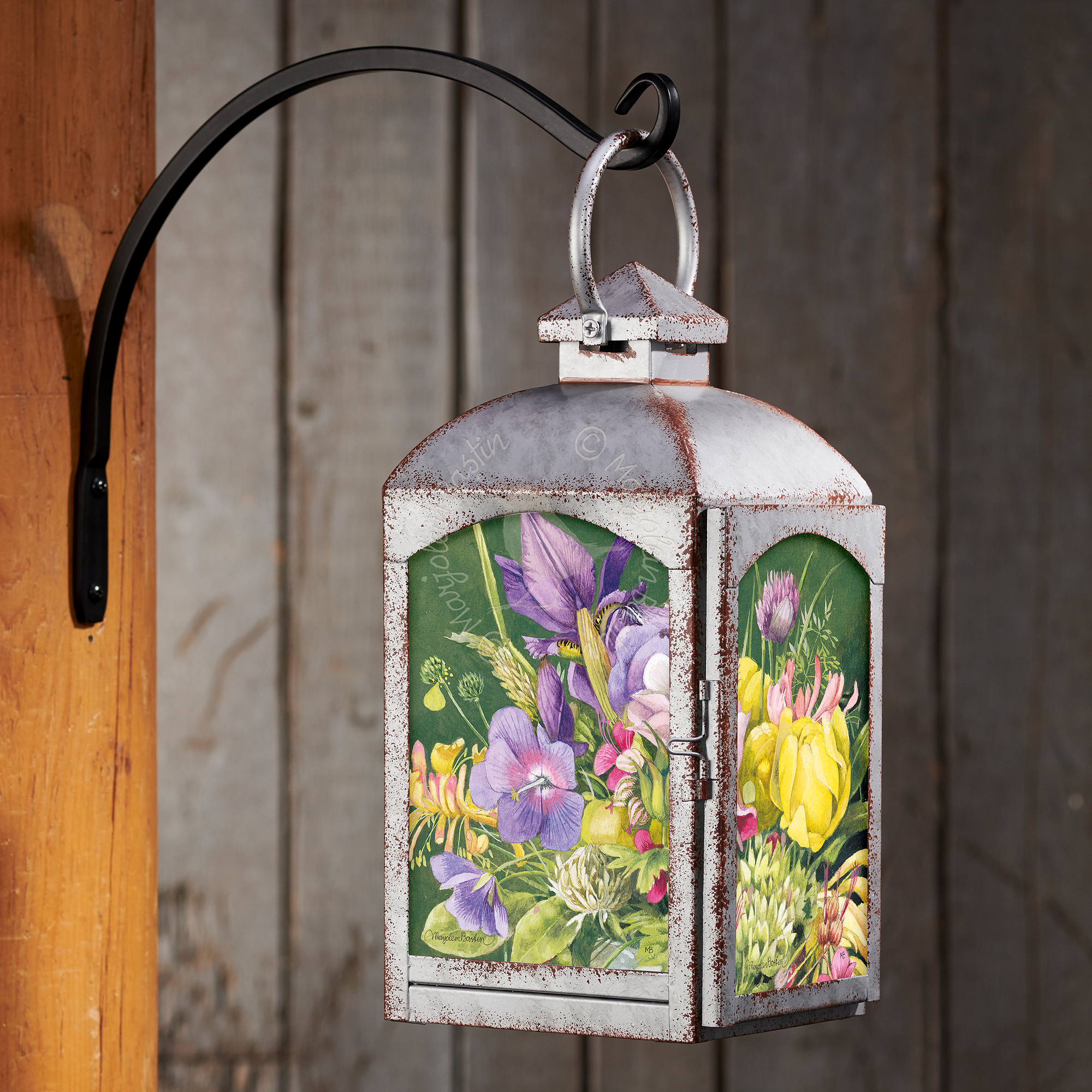 Spring Bouquet - Galvanized Gray Lantern