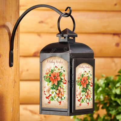 Holiday Poinsettia - Rustic Black Lantern