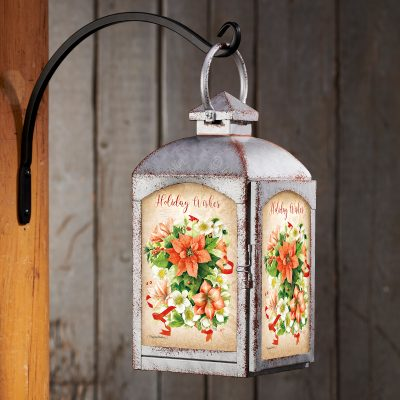 Holiday Poinsettia - Galvanized Gray Lantern