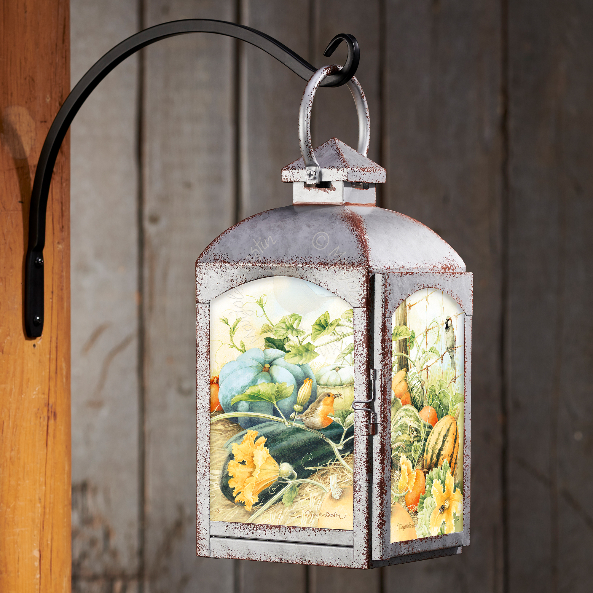Autumn Garden - Galvanized Gray Lantern