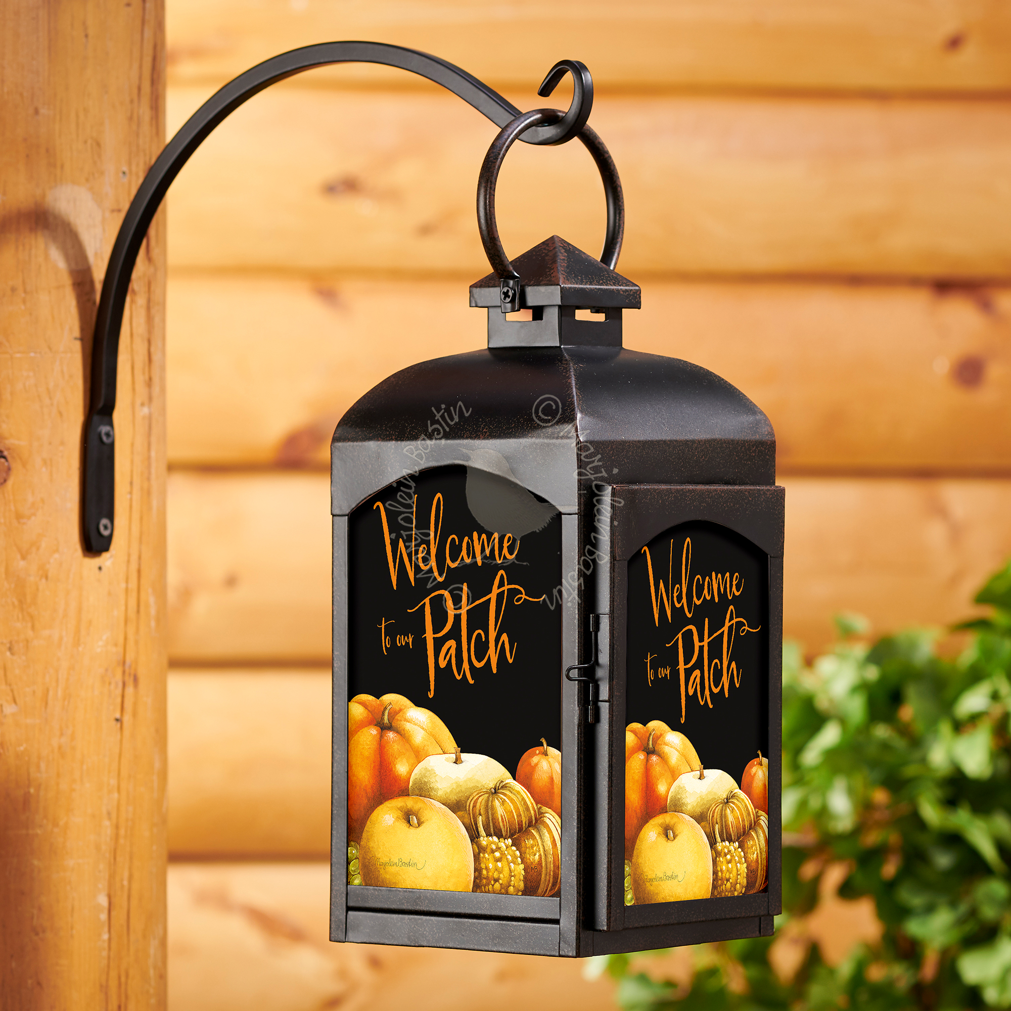 Welcome to our Patch - Rustic Black Lantern