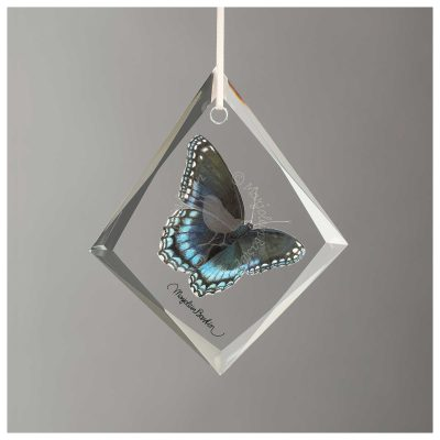 "Red Admiral Butterfly - 4"" x 3"" Glass Ornament"