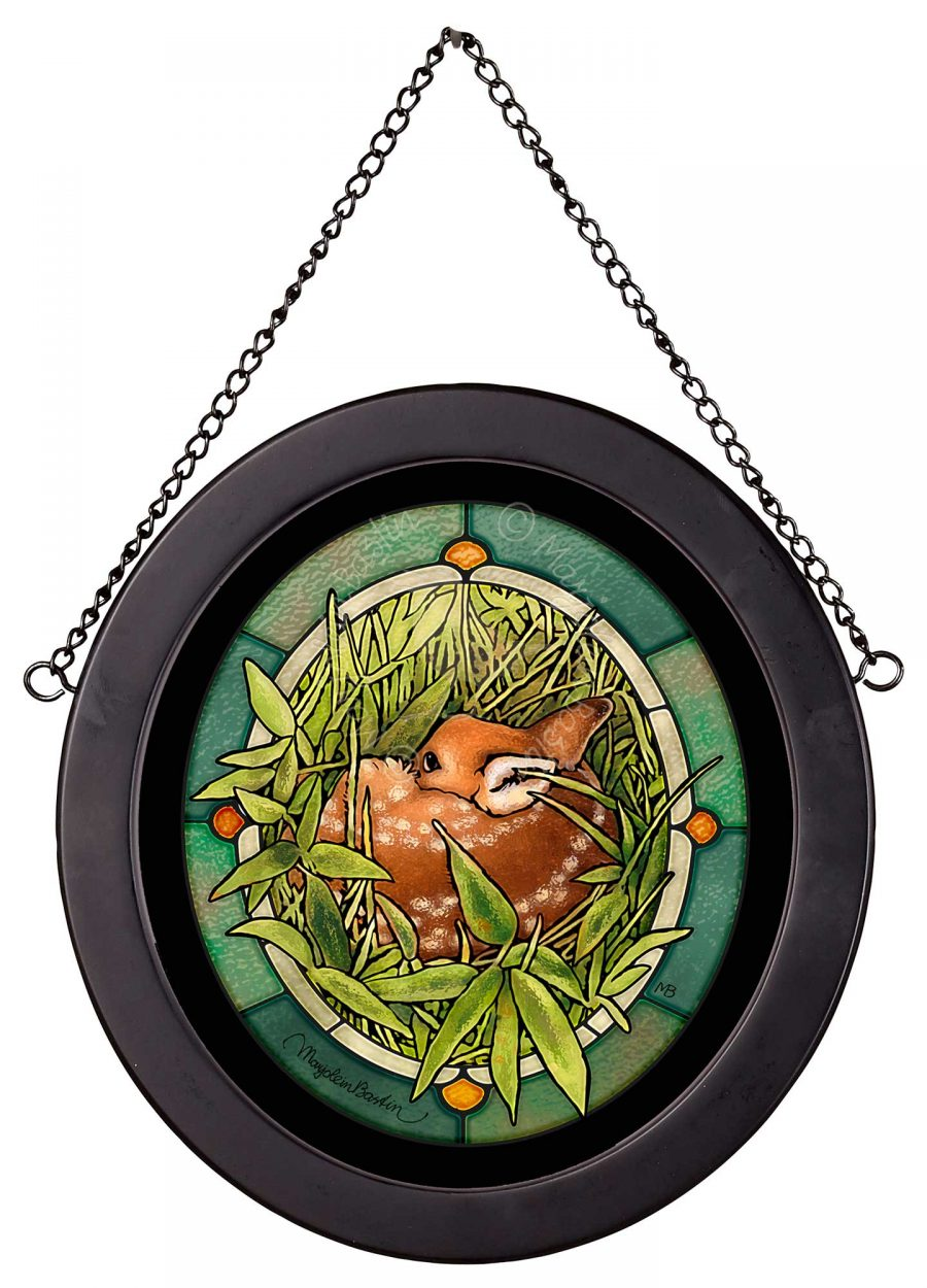 """Green Frog Concert - 9"""" x 9"""" Stained Glass Art"""