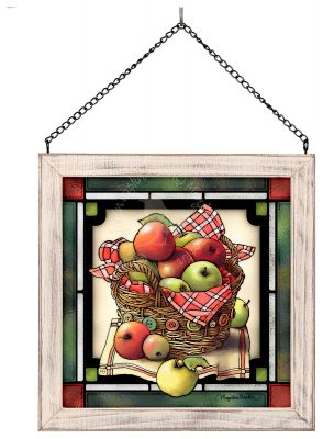 "Songbirds and Apples - 13"" x 23"" Stained Glass Art"