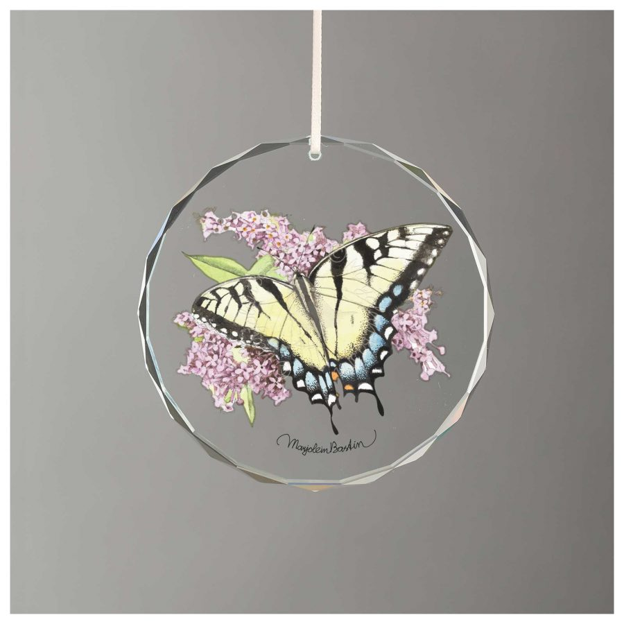 """Pink Roses in Tea Cup - 3"""" Glass Ornament"""
