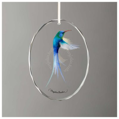 "Ruby-throated Hummingbird - 3.5"" x 3"" Glass Ornament"