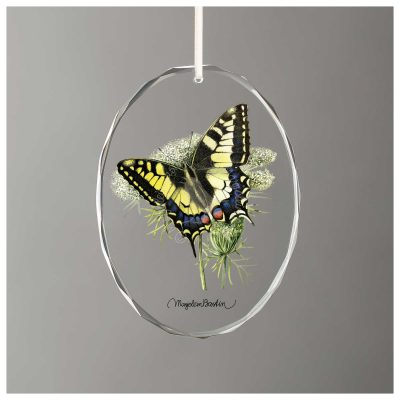 "Mourning Cloak Butterfly - 3.5"" x 3"" Glass Ornament"