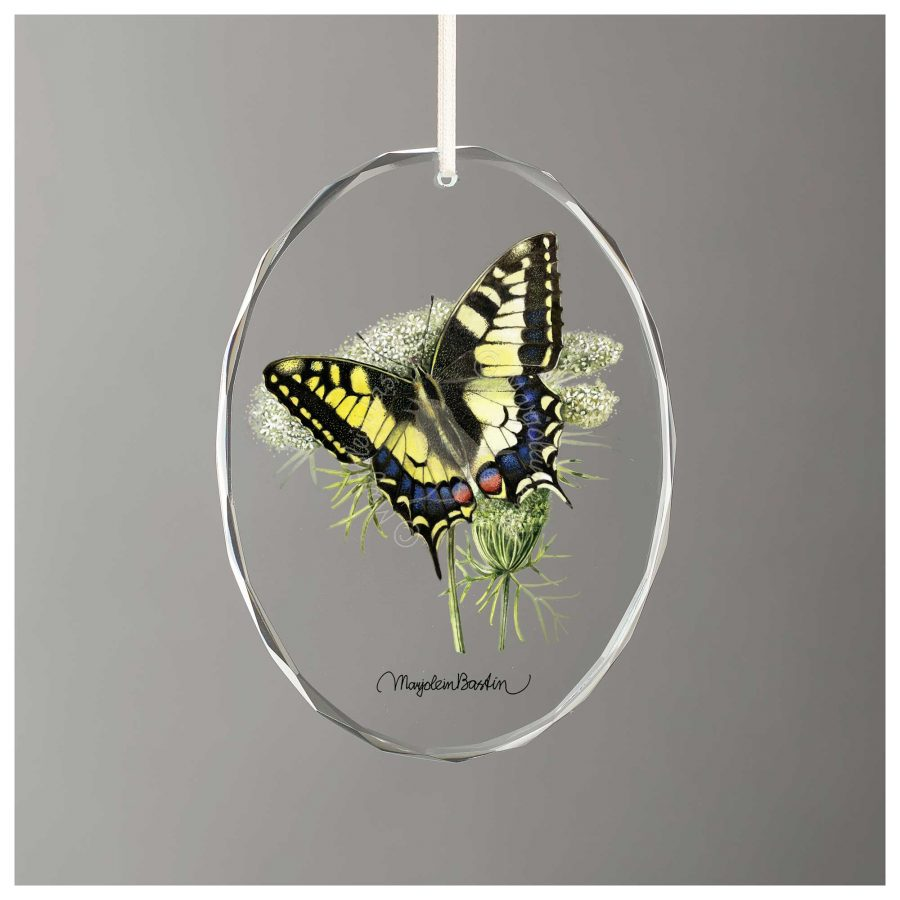"""Mourning Cloak Butterfly - 3.5"""" x 3"""" Glass Ornament"""