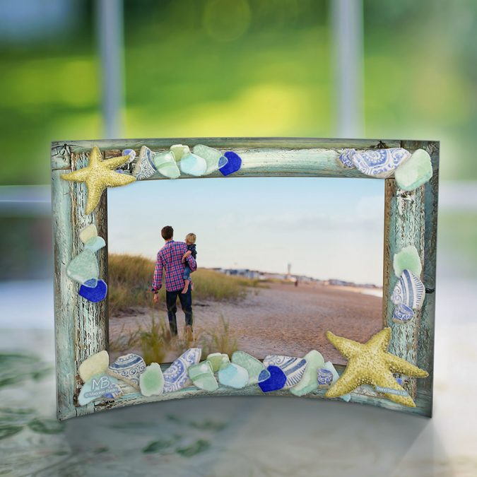 Personalized Photo Shell and Sea Glass Frame
